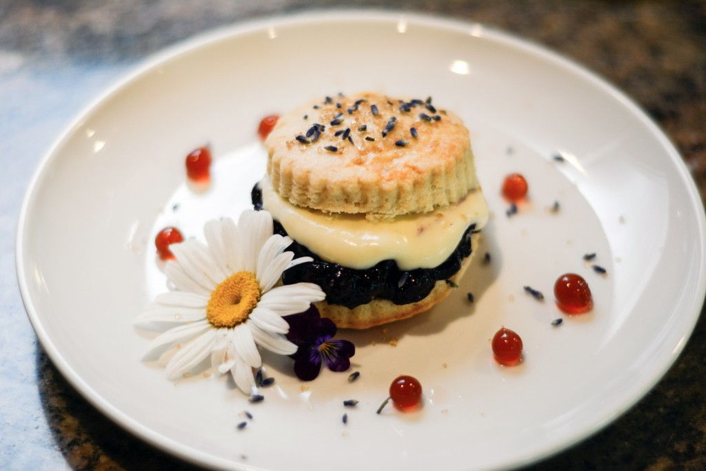Lavender Short Cake with Blueberry Compote and Gooseberry Lemon Balm Cream with Strawberry Pearls Foodie Pages August Chefs Box #FoodiePages #ChefsBox