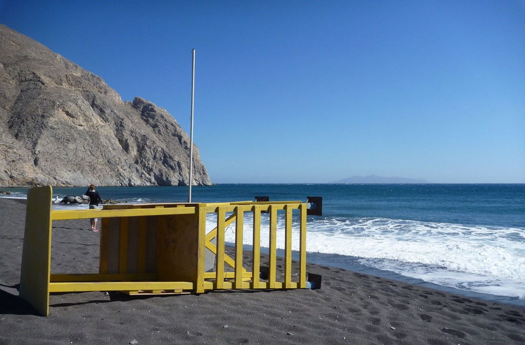 Perissa beach Santorini #Santorini #VisitGreece @GingerandNutmeg