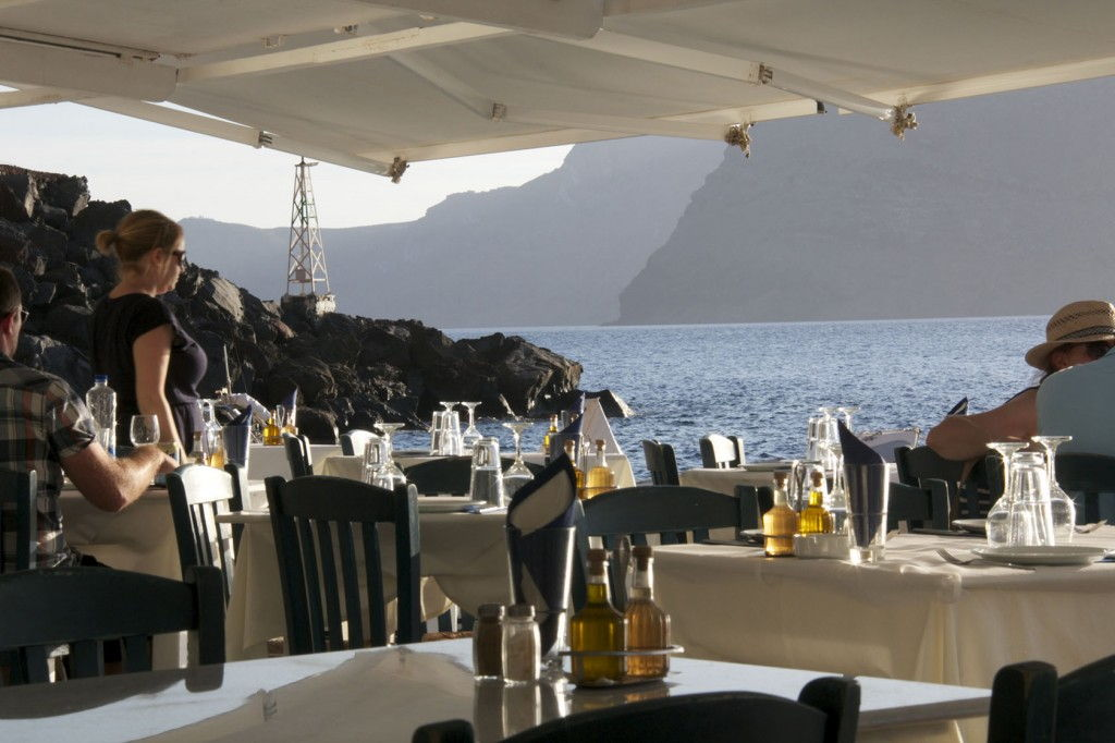 Waiting for sunset  Ammoudi Santorini #Santorini #VisitGreece @GingerandNutmeg
