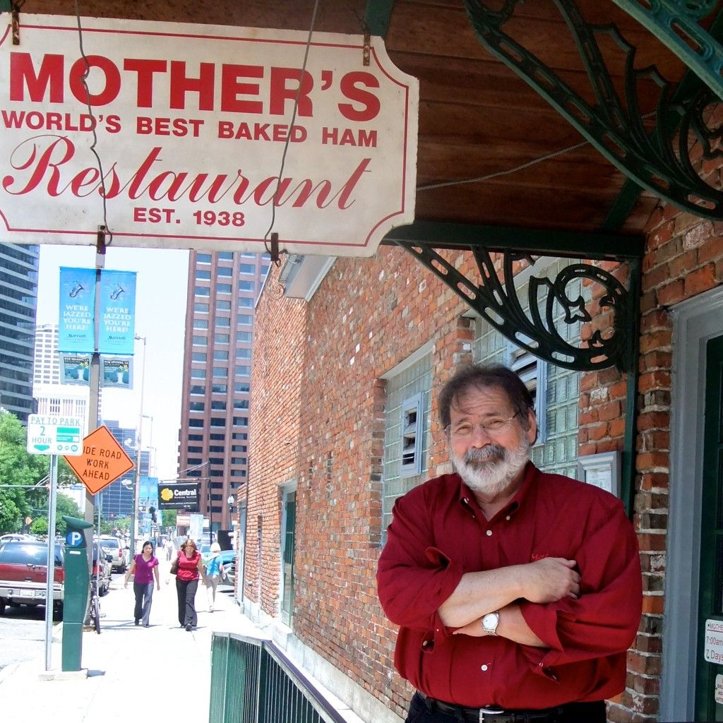 Chef - Managing Owner Jerry Amato + sign _ Mother's Restaurant, New Orleans LA