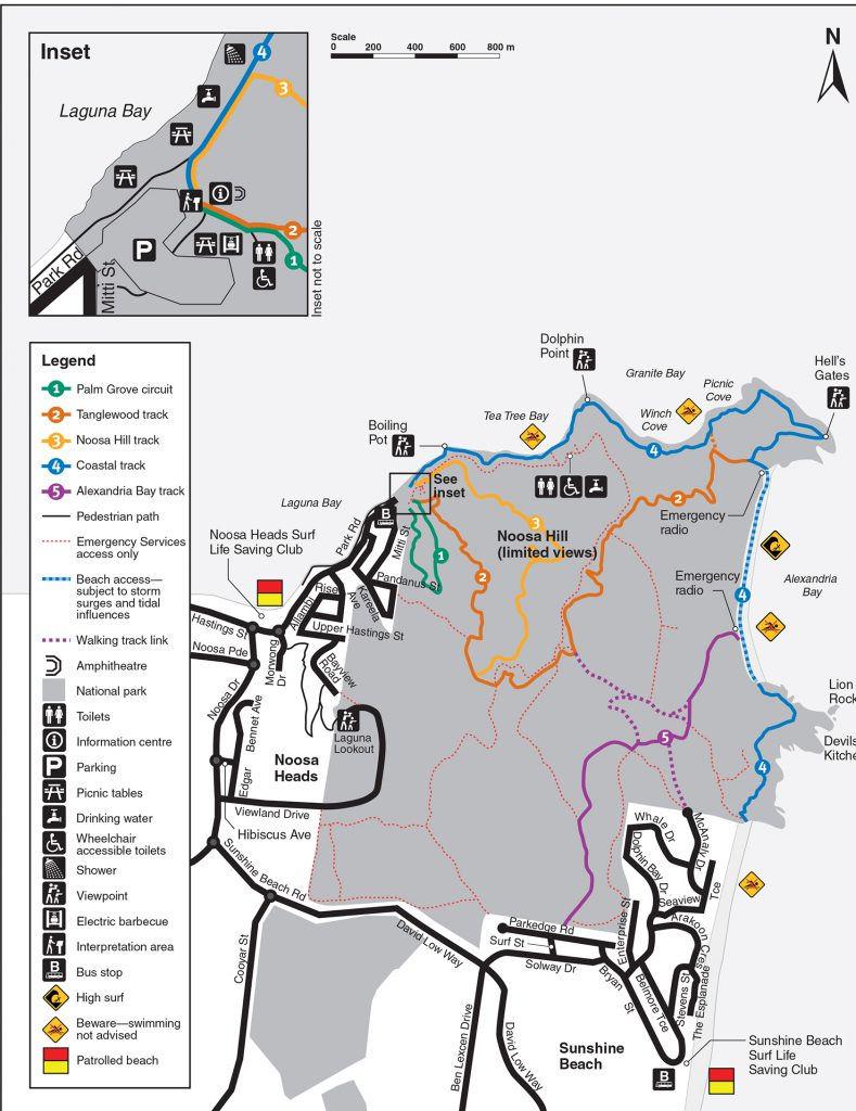 Noosa National Park Headland Section walking tracks map @Noosa #VisitNoosa
